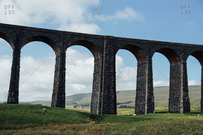 Ribblehead Viaduct in rural England