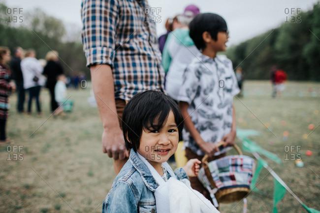 Kids and parents at Easter egg hunt