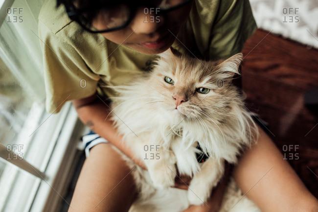 Boy holding a cat by window