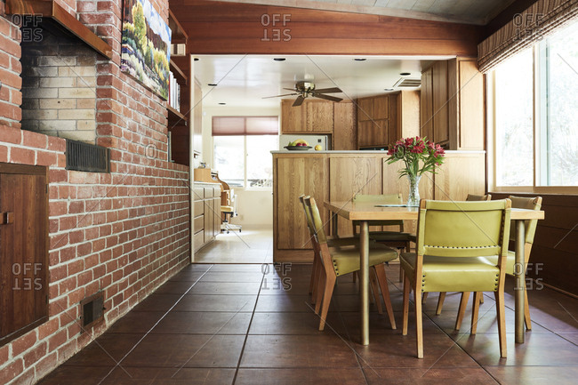 Los Angeles, California - April 13, 2017: Dining area in a mid-century modern home