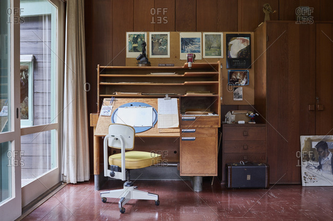 Los Angeles California April 13 2017 Vintage Drafting Table In Artist S Home Stock Photo Offset