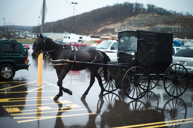 Ohio, USA - April 5, 2011: Amish horse and buggy in a parking lot