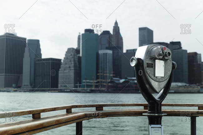 New York City, New York, USA - March 30, 2011: Viewfinder overlooking river and NYC