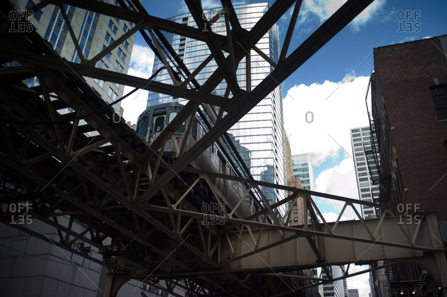 Chicago, Illinois, USA - April 2, 2011: Low angle view of the elevated train in Chicago