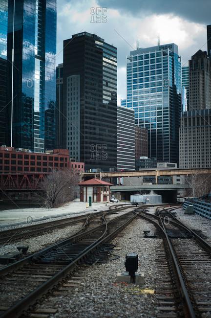 Chicago, Illinois, USA - April 2, 2011: Train tracks in Chicago