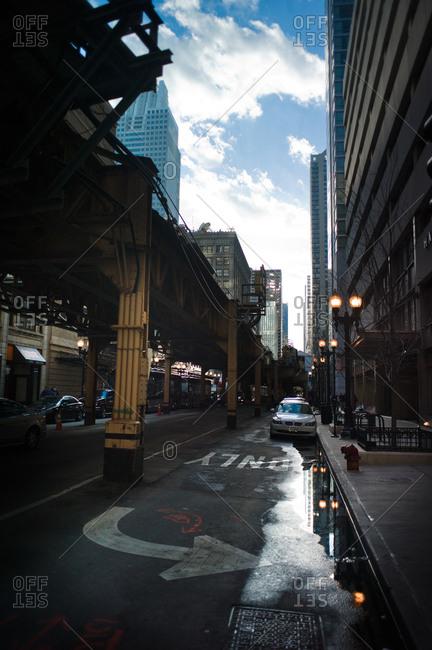 Chicago, Illinois, USA - April 3, 2011: Downtown Chicago street scene