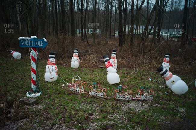 Holiday decorations on a front lawn
