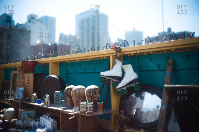 New York City, New York, USA - April 9, 2011: Items for sale at Hell's Kitchen Flea Market, New York City