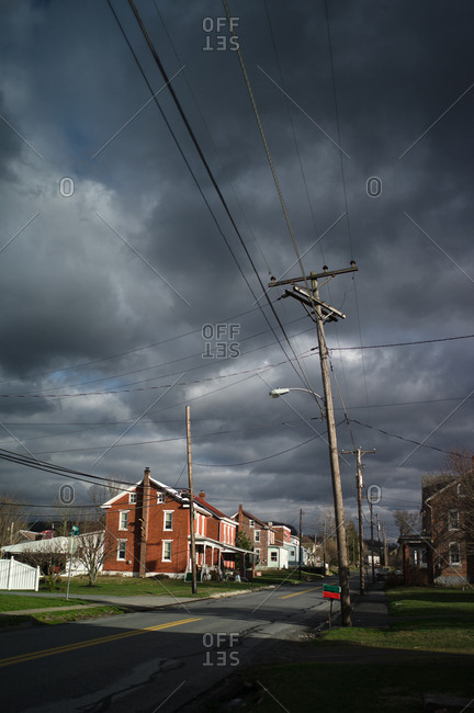 Storm clouds over a small town in Ohio