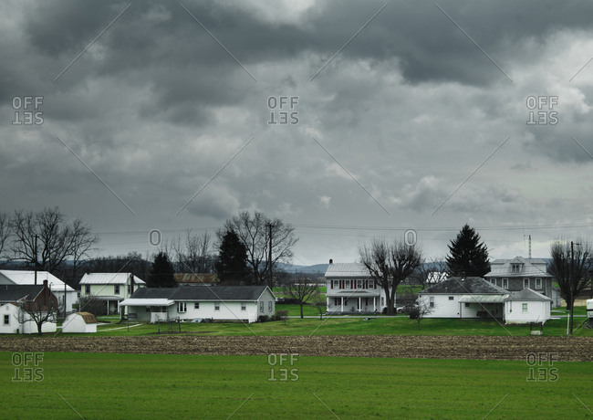 Storm clouds over a rural town in Ohio