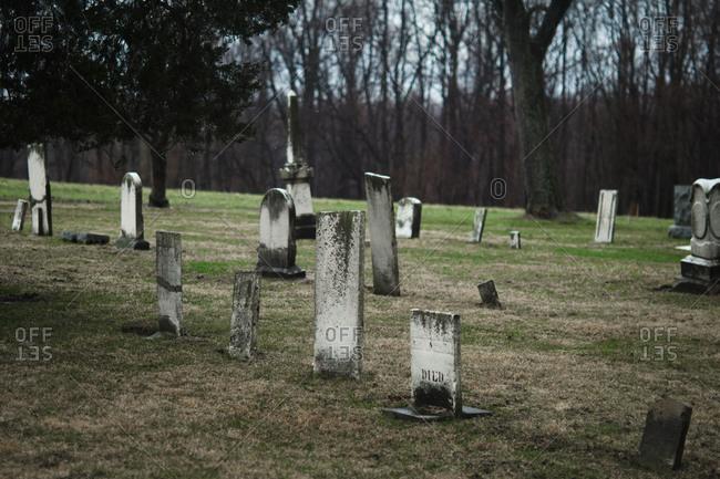 Ohio, USA - April 4, 2011: Old cemetery in Ohio