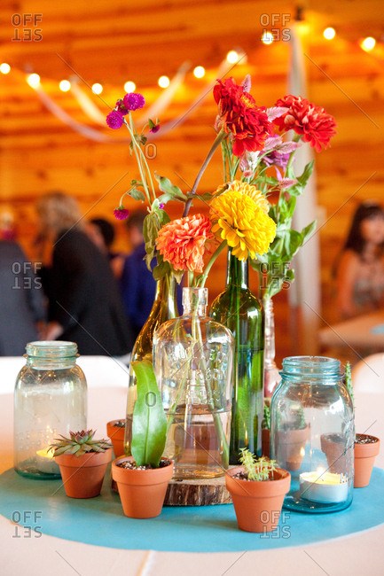 Colorful flowers in centerpiece at a wedding