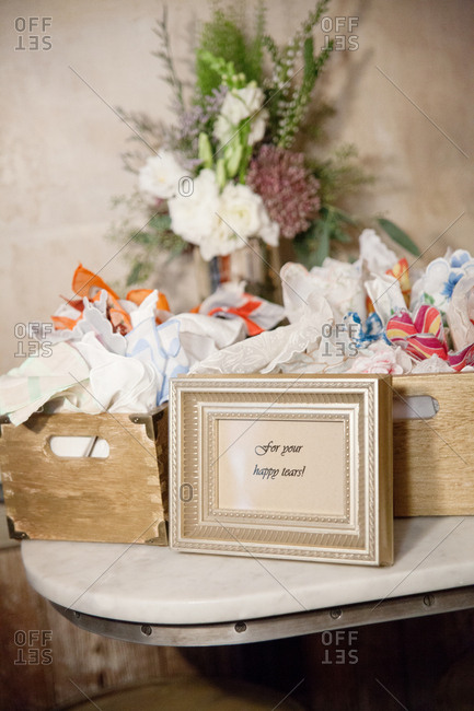 Handkerchiefs for a wedding ceremony with happy tears sign