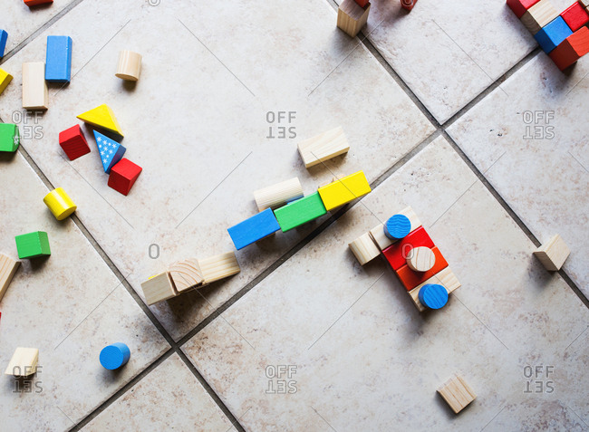 Colorful toy blocks scattered on the floor