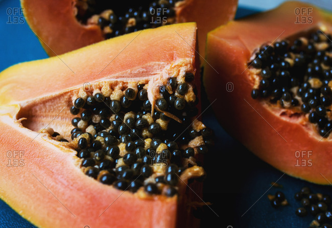 Close-up of seeds of freshly cut papaya