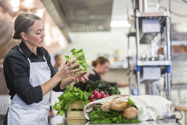 Female chef preparing food in restaurant kitchen