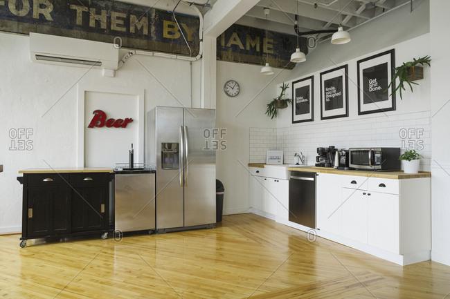 Interior of modern office kitchen