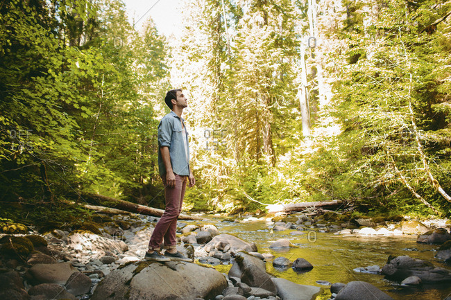 Full length of man standing on rock by river in forest