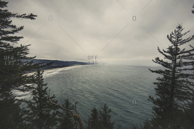 High angle view of sea against cloudscape