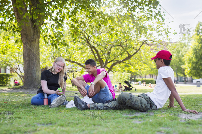 Teenage girl and teenage boys (14-15) sitting in park
