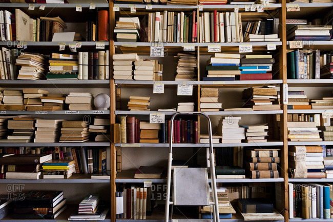 Antwerp, Flanders, Belgium - October 24, 2012: Stepladder by bookshelves in library