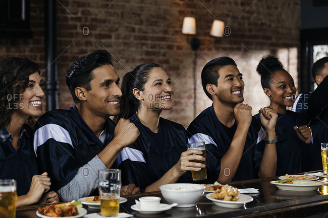 Happy sports fans celebrating at bar in pub