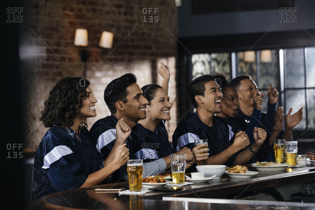 Happy male and female friends celebrating goal at counter in bar