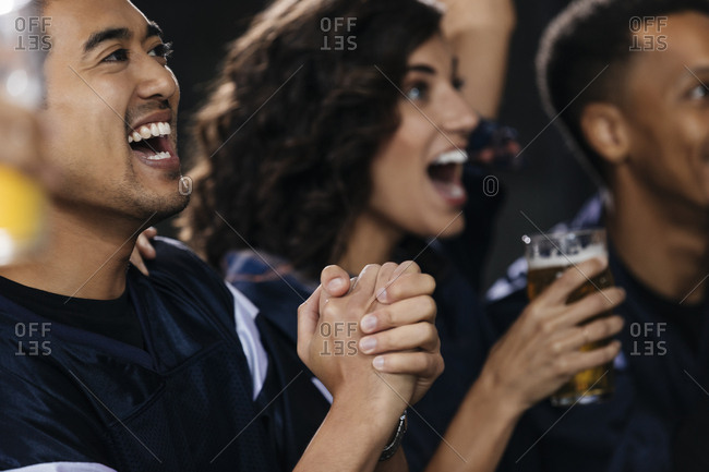 Sports fans celebrating at bar in pub