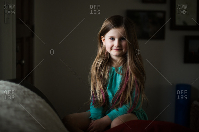Girl with dyed streaks in hair