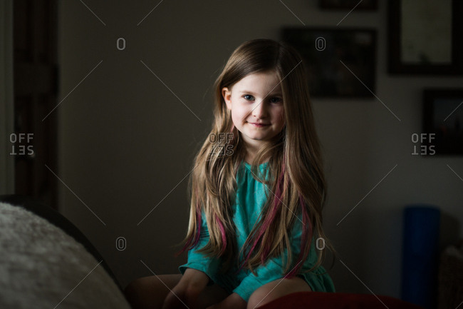 Girl with dyed streaks in her hair