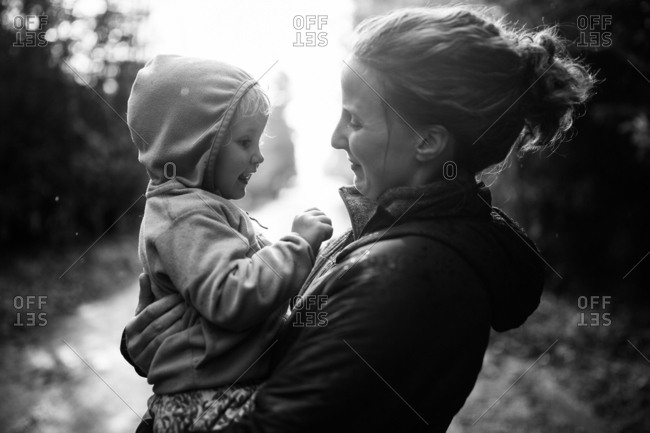 Mom with toddler in a rural setting