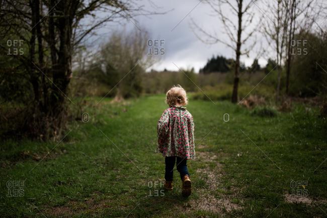 Toddler girl walking in countryside