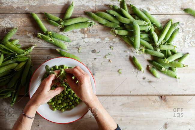 Person opening fresh peas