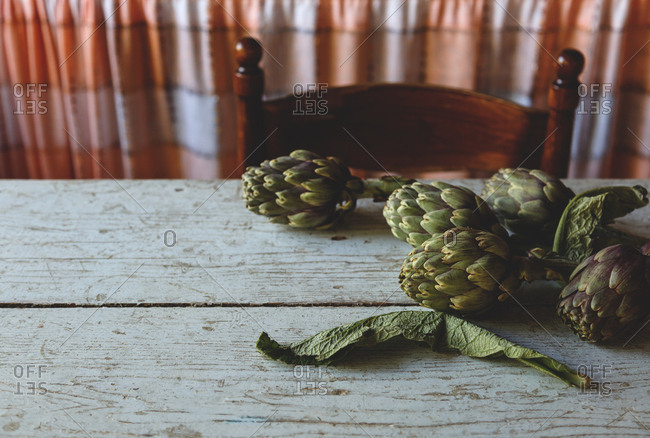 Artichokes on a dining table