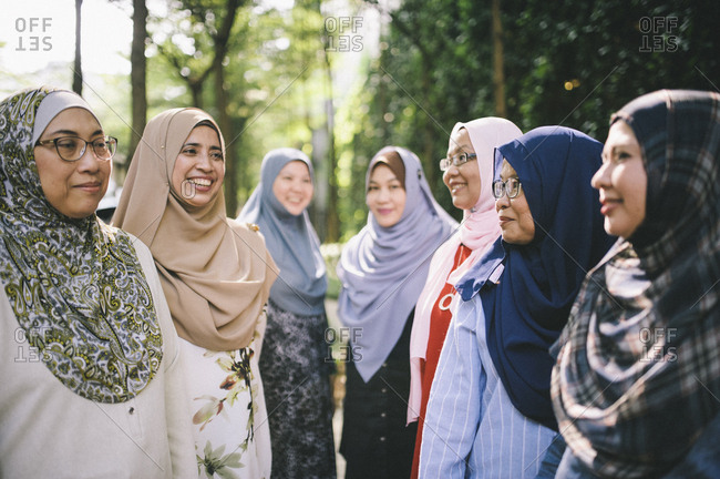 Female friends in Islamic dress, Malaysia