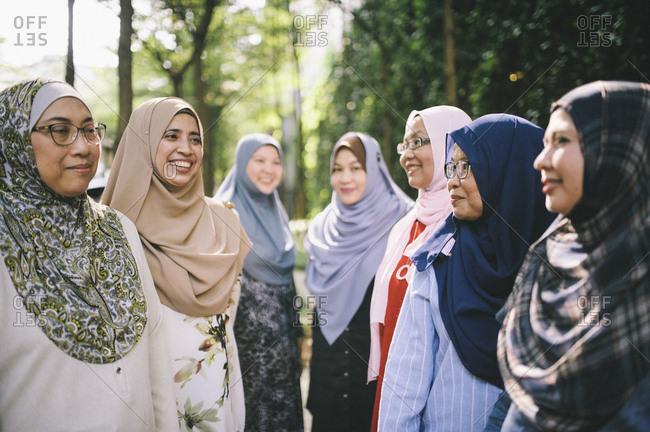 Female friends in Islamic dress, Malaysia