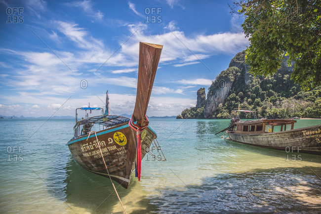 March 30, 2017 - Krabi, Thailand: Fishermen's boats at beach