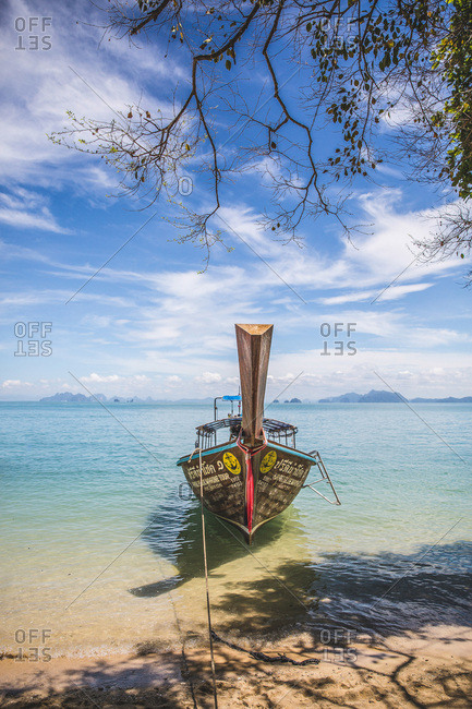 March 30, 2017 - Krabi, Thailand: Fisherman's boat on beach