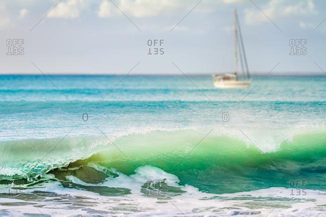 Boats in the Caribbean Sea off Saint Martin Island