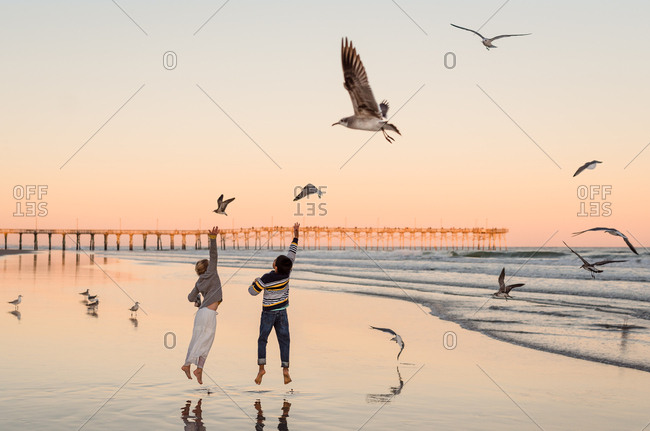Siblings jumping up towards seagulls on beach, Topsail Island