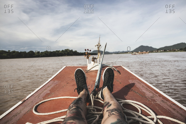 Chiang Khan, Thailand - June 21, 2015: Boat trip on the Mekong River