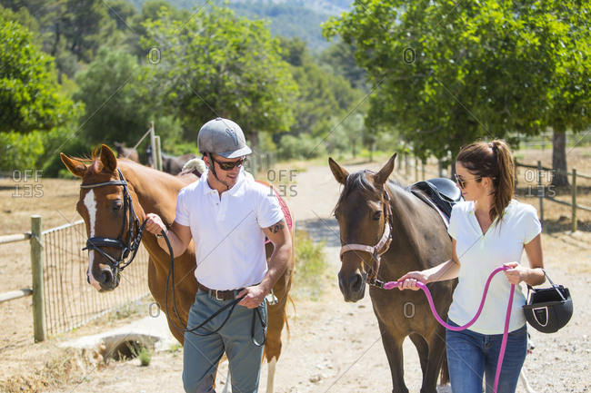 Male and female grooms leading horses from paddock at rural stables