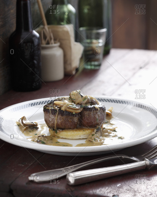 Steak with mushroom and whiskey sauce