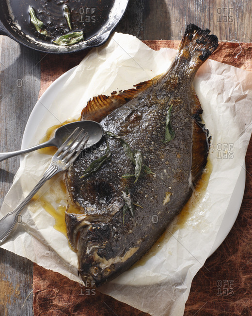 Whole baked flounder with baked butter
