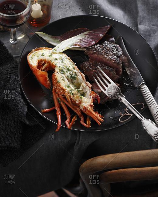Lobster and steak, surf and turf, close-up