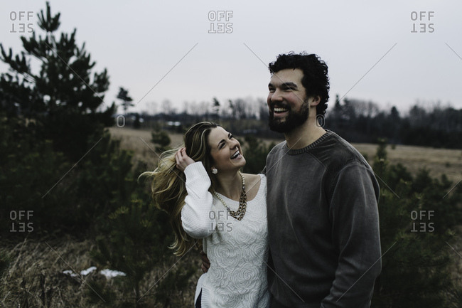 Happy couple in countryside, Whitby, Ontario, Canada