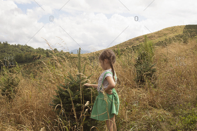 Young girl exploring outdoors