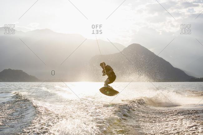 Waterskier waterskiing, Maggiore lake, Verbania, Piedmont, Italy