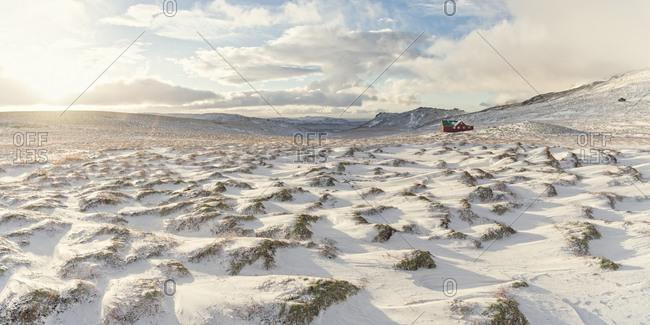Snow-covered landscape, Skalafell, Iceland