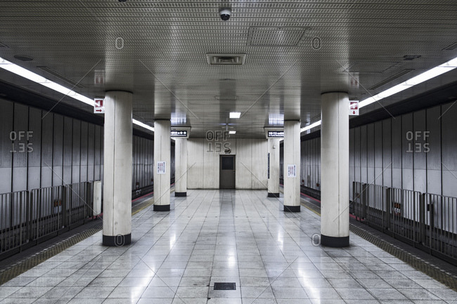 Empty subway station, Osaka, Japan